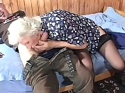 Horny granny lets a young stud drill her cunt
