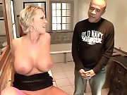 Big tits Carly Parker foot fucks with her pink stockings on in the bathroom vanity
