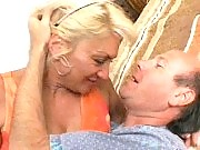 Blonde granny loving a pounding from behind