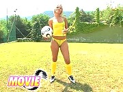 Blonde teen Candy anal dildoing on football-field