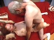 Horny grandma lets two studs bang her pussy