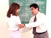 Beautiful teacher sucking cock after getting spanked by principal