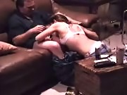 Couples seen on a camera having wild sex at the sofa
