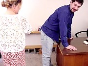 Naughty professor getting spanked by chubby colleague