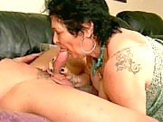 Hot granny sucking a thick cock