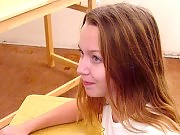 Teen babe lifting her legs up on the table for some hand caning