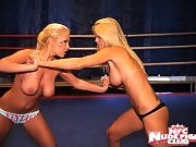 Blonde lesbo gals with enermous boobs fighting