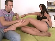 She is rubbing her bare soles to her lovers cock