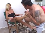 Big bodied tattooed hunk enjoys licking blonde hottie's perfect toes