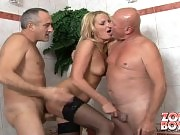 Real blonde fucking-machine fucking with old men