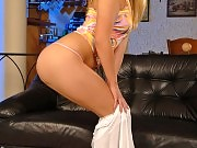 Hot skinny blond babe is dildoing her sweet pussy