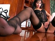 Black lace garterbelt and thigh high stockings