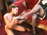 Horny lesbians in high heels indulge their sexy feet